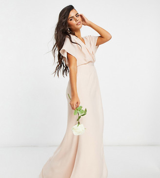ASOS DESIGN Petite Bridesmaid short-sleeve cowl-front maxi dress with button-back detail