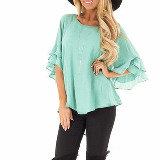 Homebaby Women Tops HOMEBABY Womens Casual Summer Tops O-Neck Pure Color Pagoda Sleeve T-Shirt - Girls Spring Short Sleeve Pullover Tops Sexy Casual Solid Shirt Bow Tie T-Shirt Blouse Mint Green