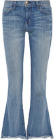 Current/Elliott The Flip Flop Frayed Low-rise Flared Jeans - Mid denim