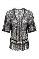 Select Fashion Fashion Womens Black Lace Fringe Kimono - size M