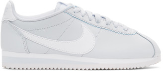Nike Grey and White Leather Classic Cortez Sneakers