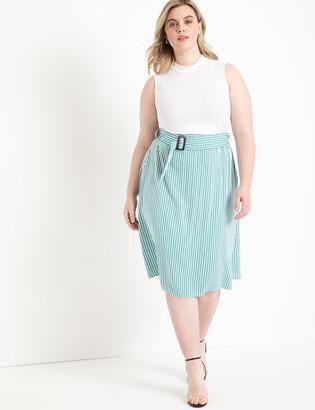 ELOQUII Stripe A-Line Midi Skirt