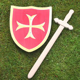 red berry apple Wooden Knights Shield And Sword