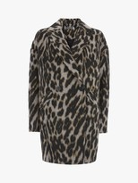 Mint Velvet Animal Textured Cocoon Coat, Multi