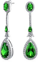 Bling Jewelry Pave CZ Teardrop Dangle Earrings Silver Plated
