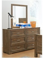Logan 6 Drawer Double Dresser with Mirror My Home Furnishings