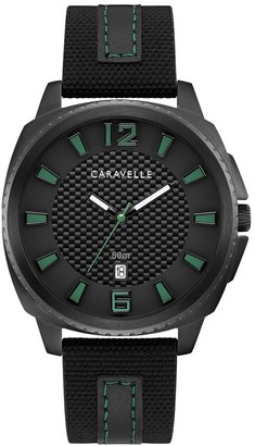 Caravelle by Bulova Mens 45B155 Black IP Stainless Carbon-Fiber Accent Dial Black Nylon Leather Strap Watch