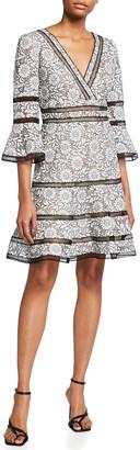 Shani Surplice Neckline Bell-Sleeve Lace Dress