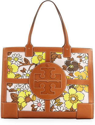Tory Burch Ella Floral-Printed Quadrant Canvas and Leather Tote Bag