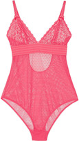 Stella McCartney Millie Drawing lace and Swiss-dot tulle bodysuit
