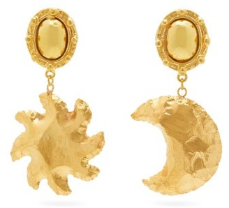 Sylvia Toledano - Mismatched Moon And Star Clip Earrings - Womens - Gold