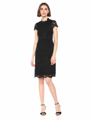 Lark & Ro Womens Cap Sleeve Lace Dress with Scallop Details