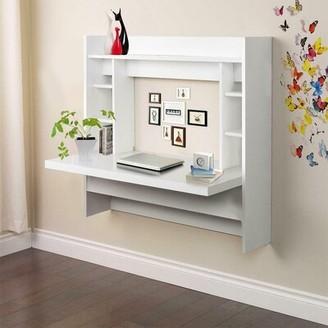 Ebern Designs Amielle Reversible Floating Desk Color: White