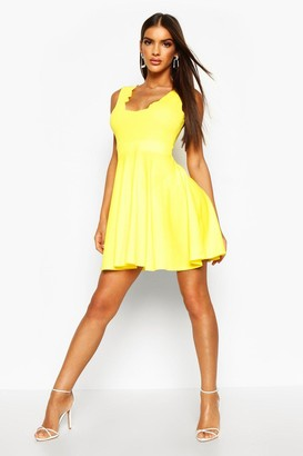 boohoo Scallop Plunge Skater Dress
