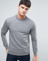 Armani Jeans Logo Crew Sweatshirt Regular Fit In Grey Marl