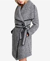 DKNY Faux-Leather-Trim Textured Wrap Coat