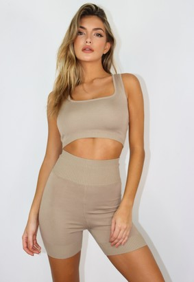 Missguided Stone Co Ord Knit Cycling Shorts