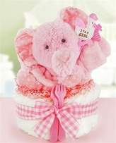 Gingham & Giggles One Tier Diaper Cake-girl by Cashmere Bunny