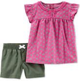 Carter's Toddler Girls 2-Pc. Printed Cotton Top & Shorts Set