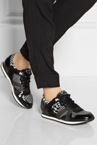 McQ by Alexander McQueen Runner houndstooth-print canvas and leather sneakers