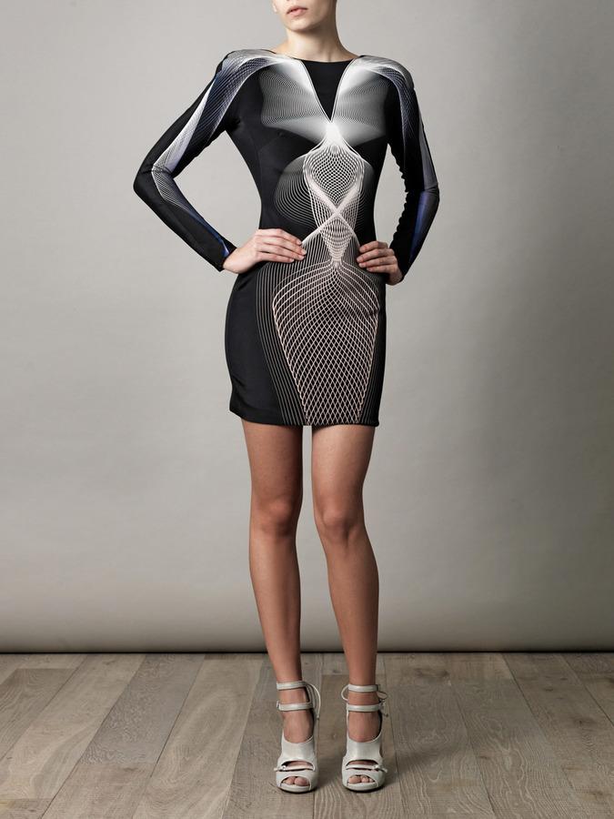 Dion Lee Linear-print backless dress