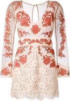 For Love And Lemons - sheer detail fitted dress - women - Cotton/Nylon/Polyester/Spandex/Elastane - XS