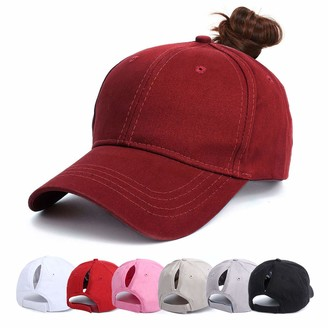 YouGa DIRECT Ponytail Baseball Cap - Mesh Cap Classic Plain Hat Sun Messy High Bun Cap Adjustable Pony Caps