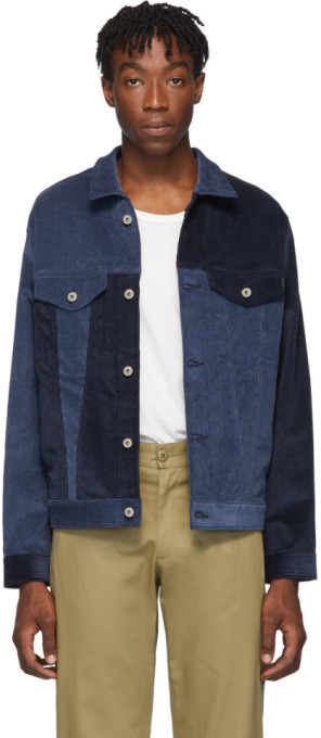 Naked & Famous Denim Denim Indigo Corduroy Colorblock Jacket