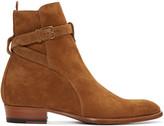 Saint Laurent Tan Suede Hedi Boots