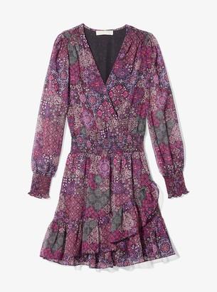 MICHAEL Michael Kors Patchwork Georgette Ruffled Wrap Dress