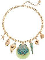 Dana Buchman Aqua Seashell Charm Statement Necklace