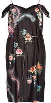 River Island Womens Plus Black print cold shoulder slip dress