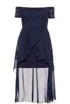 Quiz Curve Navy Glitter Lace Dip Hem Dress