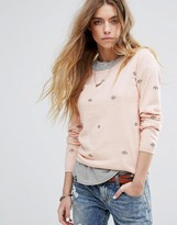 Maison Scotch Basic Crewneck Knit With Allover Embroideries