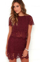 LuLu*s Turn Back Time Burgundy Lace Two-Piece Dress