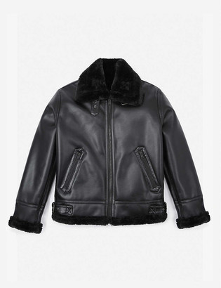 The Kooples Sport Contrast-collar faux-leather bomber jacket