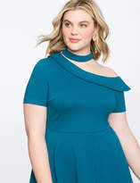 ELOQUII One Shoulder Fit and Flare Dress