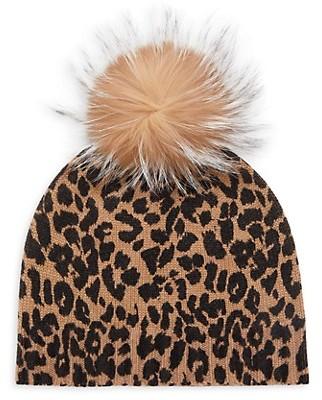 Sofia Cashmere Metallic Knit Fox Fur-Pom Leopard-Print Beanie