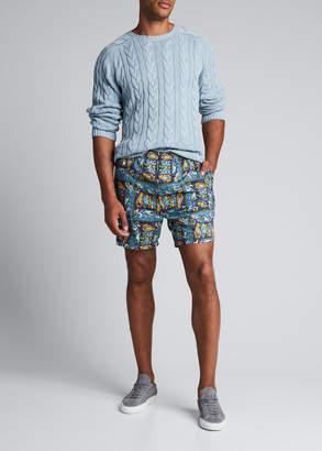 Beams Men's Batik-Print Beach Shorts