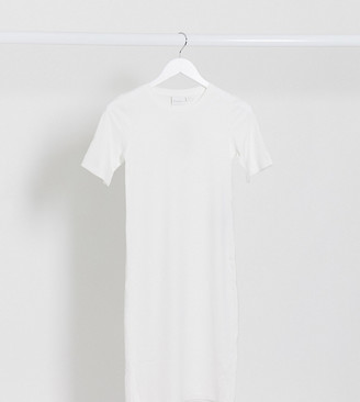 Mama Licious Mamalicious Maternity ribbed bodycon dress in white