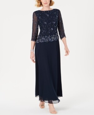 J Kara Beaded-Overlay Gown
