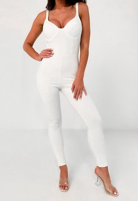 Missguided White Bust Cup Unitard Romper