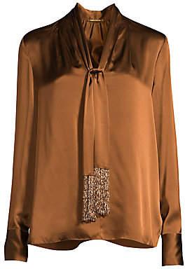 Elie Tahari Women's Kendal Beaded Tie-Neck Silk Blouse