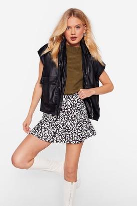 Nasty Gal Womens Cat You See Leopard Mini Skirt - Black - 4