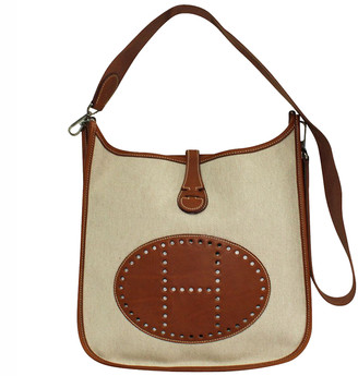 Hermes Brown Toile Canvas And Clemence Leather Evelyne Bag