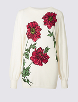 Per Una Floral Print Round Neck Jumper
