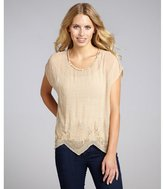 Romeo & Juliet Couture beige crepe embellished scallop top