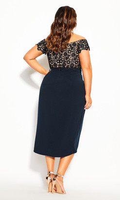 City Chic Lace Glamour Dress - navy