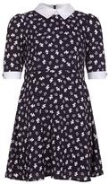 Yumi Dog Print Skater Dress Navy