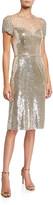 Jenny Packham Sequin Cap-Sleeve Cocktail Dress